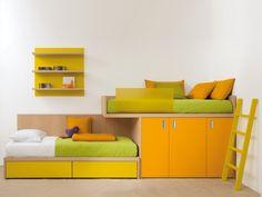 Hochbett etagenbett-kinderzimmer Massivholz-möbel orange dearkids                                                                                                                                                                                 Mehr