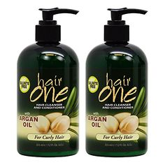 Hair One Hair Cleanser and Conditioner for Curly Hair with Argan Oil 355ml  12oz Pack of 2 * See this great product.
