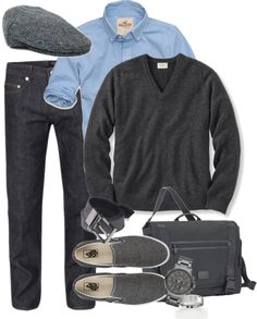 "I don't think Steve will wear the shoes...but I like it. ""gray and blue men's outfit"" by meganpearl ❤ liked on Polyvore"
