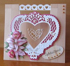 WORKSHOP AUGUSTUS 2014 VOUWKAART HARTEN 3d Cards, Easel Cards, Handmade Card Making, Die Cut Cards, Marianne Design, Heart Cards, Be My Valentine, Quilling, Birthday Cards