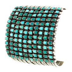 Huge Zuni Turquoise Cuff Bracelet | From a unique collection of vintage clamper bracelets at http://www.1stdibs.com/jewelry/bracelets/clamper-bracelets/