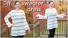 DIY Easy Sweater Dress | How to Sew a Dress/Tunic with Flared Sleeves