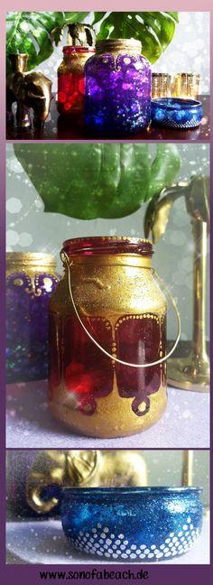 In diesem DIY zeige ich dir, wie du aus alten Glasflaschen und Dosen, wunderschöne orientalische Lampen und Laternen basteln kannst. Liebst du es bunt und mit viel Gold und Glitzer? Dann schau dir mal diese Idee an. Diese Teelichthalter werden auch dich begeistern!
