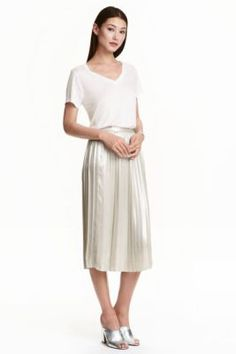 hm falda plisada plateada