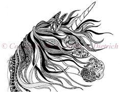 Unicorn Art Unicorn Drawing 8 x 10 Art Print by CreationsByCarrieD, $15.00