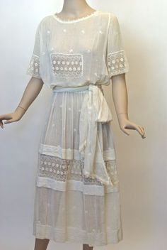 FC0413 Dress, white cotton lawn lace insert, worn as wedding dress 1921 - see file for image of bride, Canadian provenance