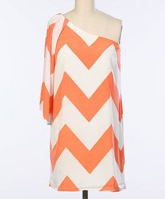 Dreaming of summer. Look at this Coral & White Zigzag Asymmetrical Dress by Hello Miss Summer Outfits, Cute Outfits, Summer Clothes, Casual Outfits, Mode Bcbg, Preppy Style, My Style, Affordable Plus Size Clothing, Asymmetrical Dress