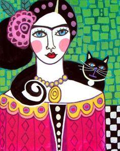 Mexican Folk Art - Black Cat Frida Kahlo Artworks Print by Heather Galler