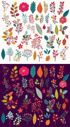 Big collection Flowers Cat by MoleskoStudio on creativemarket Art Floral, Floral Drawing, Folk Art Flowers, Vintage Flowers, Flower Art, Keramik Design, Illustration Blume, Illustration Flower, Scandinavian Folk Art