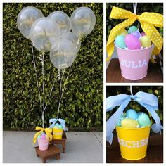 """""""Money Balloon Easter Basket..."""" This is such a wonderful idea to do for the little ones for Easter day.! If you want to add that extra special touch to your Easter baskets to give as gifts or simply to cut down on the amount of sweets your little ones eat... Just tie balloons onto the basket handle and a bow around knot for a nice finishing touch...  L❤VE this.!!!"""
