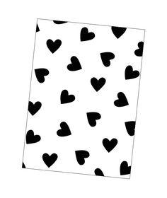 Kaart zwart-wit hartjes Leuke kaart met zwarte hartjes om je interieur te stylen, maar uiteraard ook leuk om te versturen.
