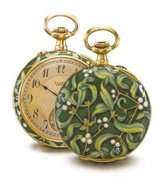 PLOJOUX, GENÈVE AN 18K YELLOW GOLD AND ENAMEL OPEN-FACED WATCH WITH MISTLETOE MOTIF CIRCA 1910 • jeweled gilt lever movement, signed and numbered cuvette • gilt dial with engine-turned center, Arabic numerals, blued steel hands, subsidiary seconds • champlevé enamel case with green and white mistletoe motif • dial and cuvette signed diameter 29.5 mm