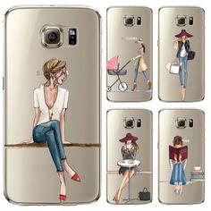 Cassa del telefono per Samsung Galaxy S5 S6 S6Edge S6Edge + S7 S7edge Copertura Molle Del Silicone della pelle Verniciata di Modo Shopping Ragazza Del Telefono Mobile borsa