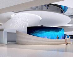 Future life on Behance Lobby Interior, Bathroom Interior Design, Interior And Exterior, Interactive Walls, Interactive Design, Futuristic Interior, Clinic Design, Reception Design, Lobby Design