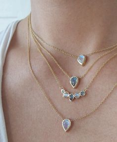 We can't get enough of these layers | moonstones, labradorites and grey diamonds | ~ Misa Jewelry