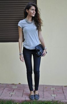 Studded loafers street style with jeans & grey tshirt