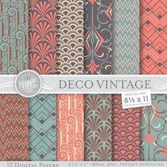 VINTAGE ART DECO Patterns 8 1/2 x 11 Digital Paper por MNINEDESIGNS