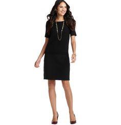 Petite Leather Trim Ribbed Waist Short Sleeve Dress