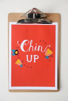 Hand Drawn Type  'Chin Up'   Art Print A4 by StacieSwift on Etsy, £25.00