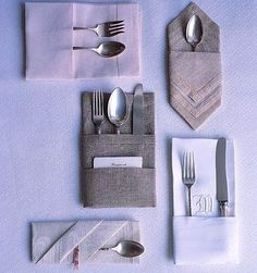 Napkins don't have to be 1) ugly, or 2) folded like your prom. Look how creative these events made them.      {via}       {via}       {via} ...