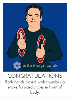 Today's British Sign Language (#BSL) Sign is: CONGRATULATIONS - see all of our signs in our free online dictionary at www.british-sign.co.uk