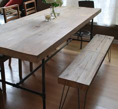 reclaimed wood table (this one too, @Joni Wittrup)