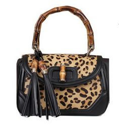 Gucci New Bamboo Top Handle Bag Horse Hair 308364 Black - $259.00
