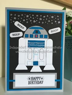 Hello and welcome back... Today's card is Star Wars themed and features that lovable droid R2D2... Isn't he adorable....The base ca...