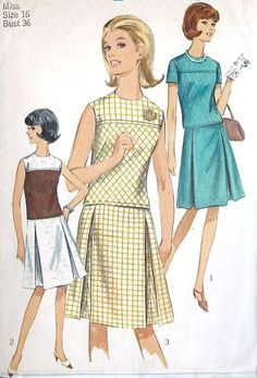 1960s Misses Two Piece Dress Vintage Sewing by MissBettysAttic, etsy