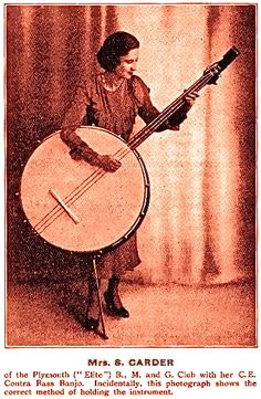 "Mrs. S. Carder with her contra bass banjo: ""Incidentally, this photography shows the correct method of holding the instrument."""