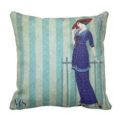 Art Nouveau Deco 1920s Vintage Blue Rustic Custom Throw Pillow - rustic gifts ideas customize personalize