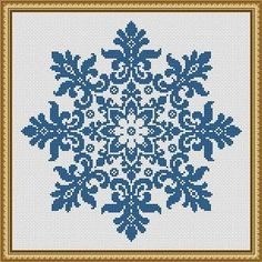 For sale is Large Snowflake Cross Stitch Pattern Floral Snowflake Monochrome Vintage Snowflake Counted Cross Stitch/Filet Crochet in PDF Format. This design is done for 1 color of your choice. Snow represents coldness and hardness in human nature, but the Simple Cross Stitch, Cross Stitch Charts, Cross Stitch Designs, Cross Stitch Patterns, Crochet Patterns, Crochet Stitches, Crochet Cross, Filet Crochet, Mandala Crochet