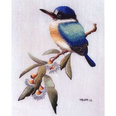 The beautiful Australian bird, the Forest Kingfisher, is the second design in our brand new 'Australian Birds Collection' by Trish Burr. Trish Burr's Forest Kingfisher design has been reproduced with kind permission from a painting by Australian bird and wildlife artist, Janet Flinn. $39.95AUD plus postage