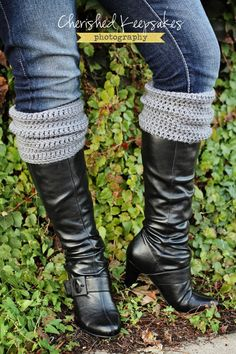 Boot Cuffs, Leg Warmers, Boot Toppers, Grey, Choose A Color