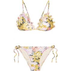 Zimmermann Valour embroidered floral-print triangle bikini (486.300 COP) ❤ liked on Polyvore featuring swimwear, bikinis, swimsuits, underwear, swim suits, side tie bikini, floral bikini, yellow bikinis swimsuits, yellow swimsuit and yellow bikini