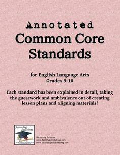 Common Core ELA Standards Grades 9-10 Explained!  FREE