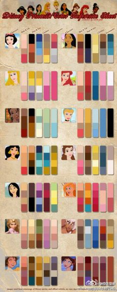 Disney ladies color cheat sheet