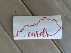 Cards Kentucky car or laptop decal by CandieHartBoutique on Etsy