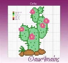 Cactus hama perler pattern by Perler Beads Pegboard, Diy Perler Beads, Perler Bead Art, Pearler Beads, Beaded Cross Stitch, Cross Stitch Embroidery, Cross Stitch Patterns, Pearler Bead Patterns, Perler Patterns