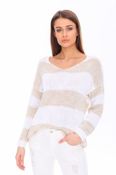 Dámsky sveter s pruhmi svetlobéžový Pullover, Sweaters, Fashion, Moda, Fashion Styles, Sweater, Fashion Illustrations, Sweatshirts, Pullover Sweaters