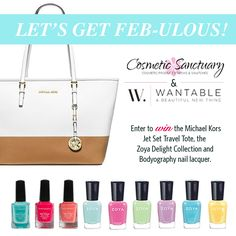 Ready for a Feb-ulous giveaway! Enter for a chance to win the Michale Kors Jet Set Travel tote, Zoya Delight Collection and Bodyography Nail Liqueur.