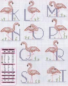 Schema punto croce Alfabeto cicogne 2