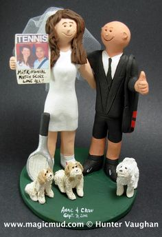 Tennis Players Wedding Cake Topper  These two are truly an ace couple.......they are both tennis players!  Yes, both bride and groom play tennis avidly, and make no doubts that they are truly in a love game......Nobody else can score on this powerful pair! You can see them smiling from the cover of Tennis magazine.$235#tennis#pet_dogs#raquet#wedding #cake #toppers  #custom #personalized #Groom #bride #anniversary #birthday#wedding_cake_toppers#cake_toppers#figurine#gift