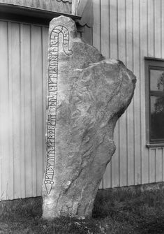 "1936 A runestone next to a house in Herrestad. The inscription reads, ""Gudmund made these monuments in memory of Ormar, his son. Younger Futhark, Marriage Images, Father Images, Rune Stones, Old Norse, Girl Standing, Stone Carving, Wood Carving, 11th Century"