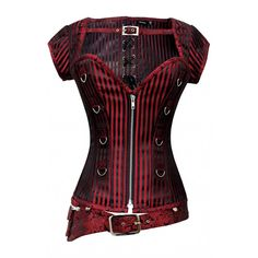 CD-831 - Red and Black Striped Corset with Detachable Belt and Jacket
