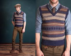 Fair Isle Jacquard Blue Striped V-Neck Sweater Vest - Gentleman Professor Hemingway: Men's Small