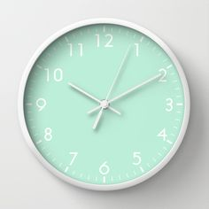 Mint Green Pastel Wall Clock by beautifulhomes Mint Green Rooms, Mint Rooms, Mint Green Decor, Pastel Walls, Blue Walls, Mint Bedroom Walls, Mint Bedroom Decor, Mint Walls, Color Menta