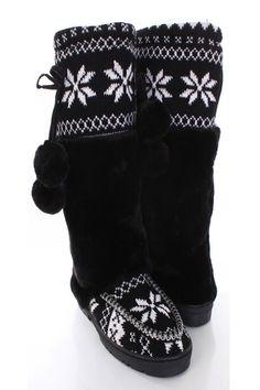 22f0d7d702b81 Black Knit Faux Fur Pom Pom Accent Casual Boots   Sexy Clubwear