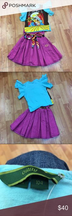 Oilily Aloha Set Outfit Skirt Top 104 4 Super cute set from Oilily.  Tee has ruffle sleeves and light wash wear.  Features a hula dancer and a Hawaiian scene.  Brown, blue, aqua, yellow, red are the colors.  The skirt is a purple-y color with a belt that picks up the colors from the top.  It has gold Oilily embroidery on a pocket.  Very good used condition for both pieces.  Size is 104 or approximately 4.  #oilily #aloha #skirt #top #hawaiian #outfit #set #bundle #oilily104 #hula #hulagirl…