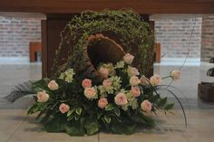 pampas grass wedding ceremony arch and altar ideas Church Flower Arrangements, Church Flowers, Wedding Ceremony Arch, Altar Decorations, Pampas Grass, Flower Designs, Floral Wreath, Wreaths, Garden